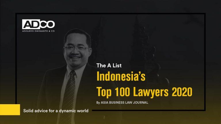 Dendi Adisuryo as One of Indonesia's Top 100 Lawyers 2020